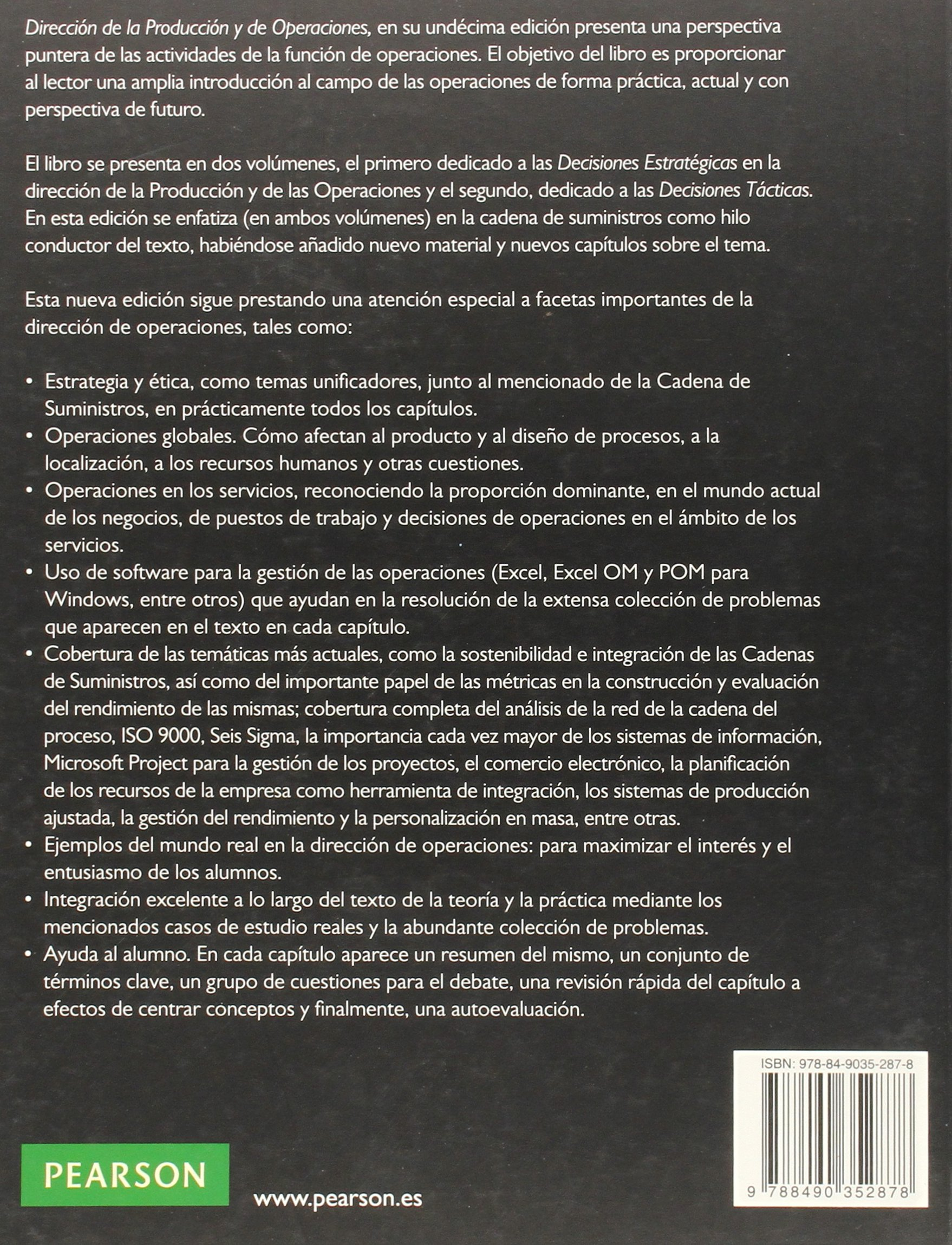 Dirección de la producción y operaciones estratégicas: Amazon.es: Jay Heizer, Barry Render, S.L. Gestión Editorial Avanzada: Libros