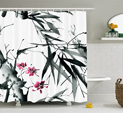 Ambesonne Traditional House Decor Shower Curtain Natural Sacred Bamboo Stems With Cherry Blossom Folk Art