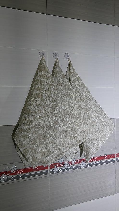 Lino gris Jacquard plato té Toallas de juego de toallas, tema Floral de baño para