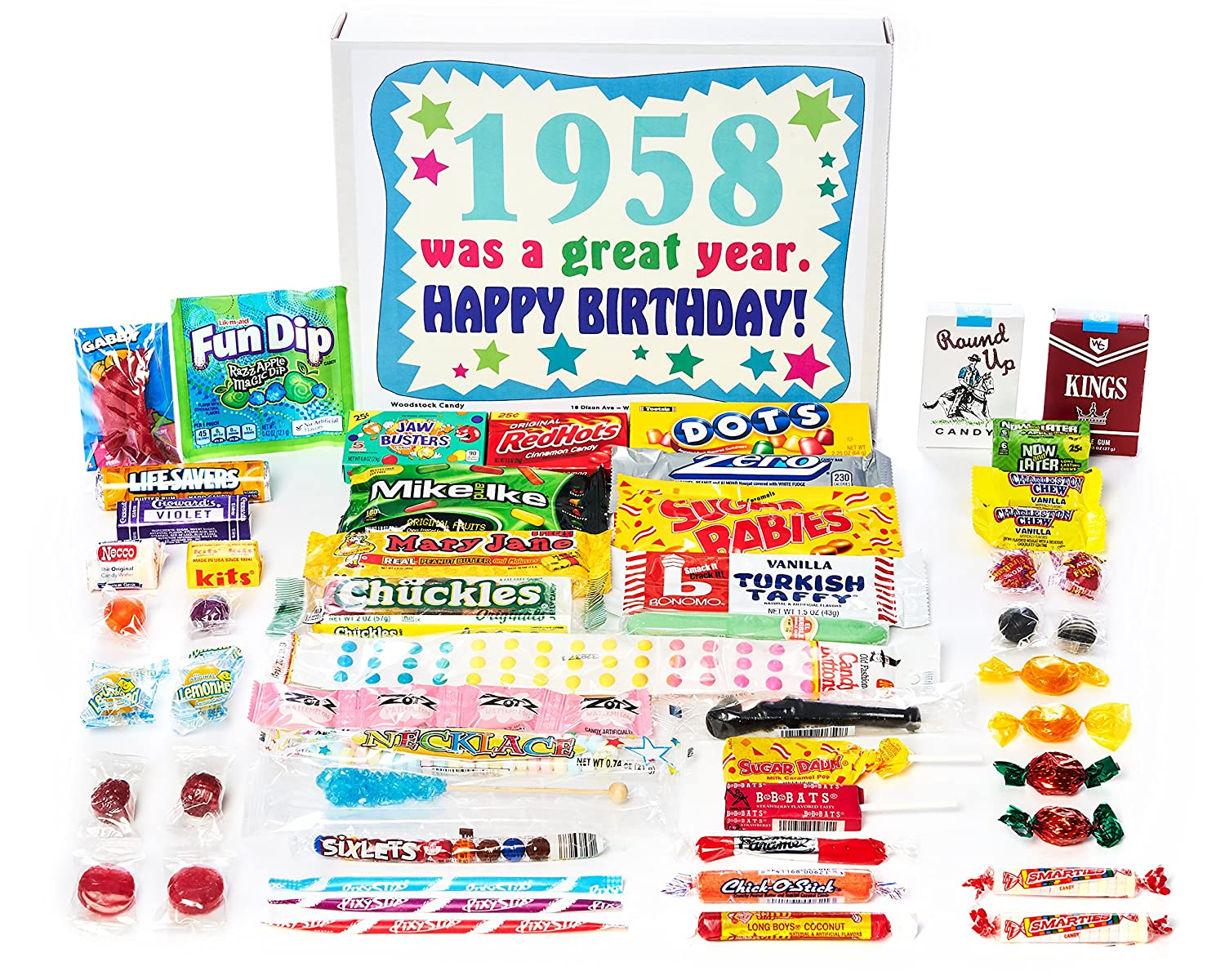 Woodstock Candy ~ 1958 62nd Birthday Gift Box Nostalgic Retro Candy Assortment from Childhood for 62 Old Man or Woman Born 1958