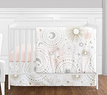 Amazon Com 4 Pc Blush Pink Gold Grey And White Star Moon Celestial Baby Girl Crib Bedding Set By Sweet Jojo Designs