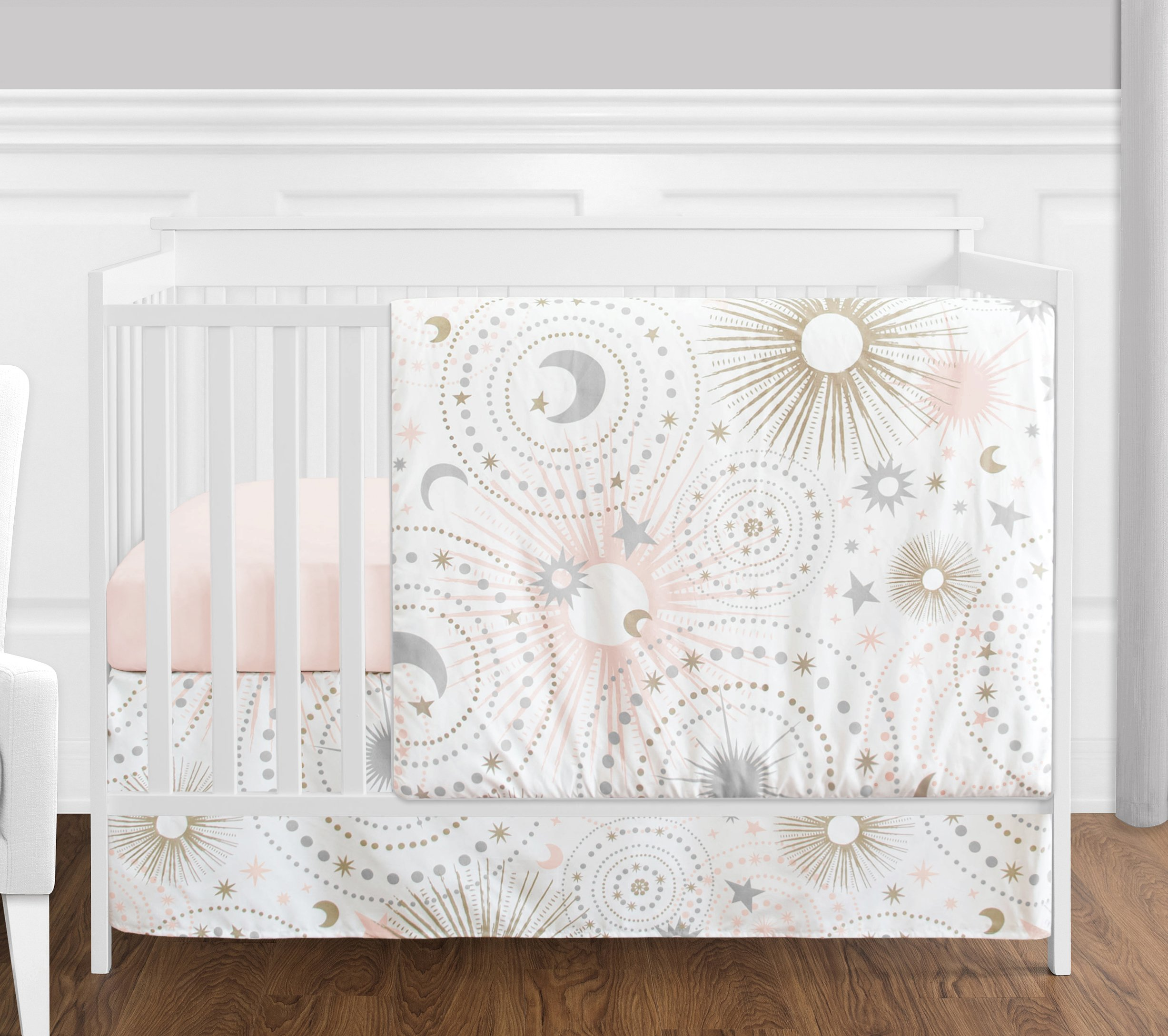 4 pc. Blush Pink, Gold, Grey and White Star and Moon Celestial Baby Girl Crib Bedding Set without Bumper by Sweet Jojo Designs by Sweet Jojo Designs
