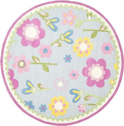 Safavieh Safavieh Kids Collection SFK311A Handmade Blue and Multi Cotton Round Area Rug 6 Diameter