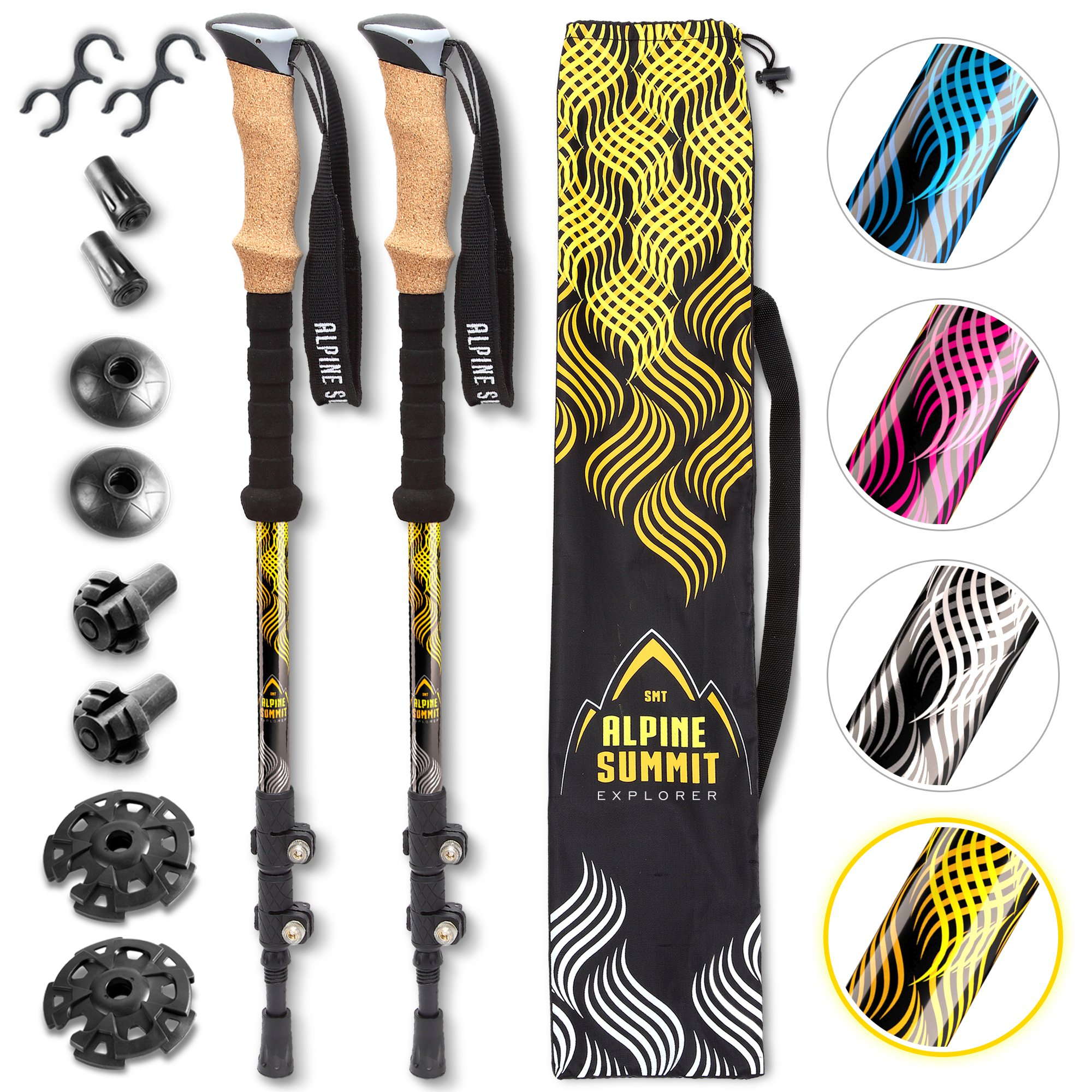 Power Lock Hiking/Trekking Poles [Pair] - Reliable, Durable Support - Light and Sturdy 7075 Aluminum with Durable Carbide Tips and Cork Grips - Walking Sticks