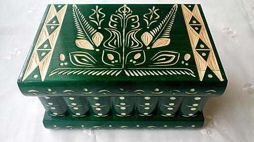 Caja puzzle nuevo grande verde caja de joyas talladas caja mágica misterio caja de madera rompecabezas caja secreta trinket complicado cajón de madera caja escondida: Amazon.es: Handmade