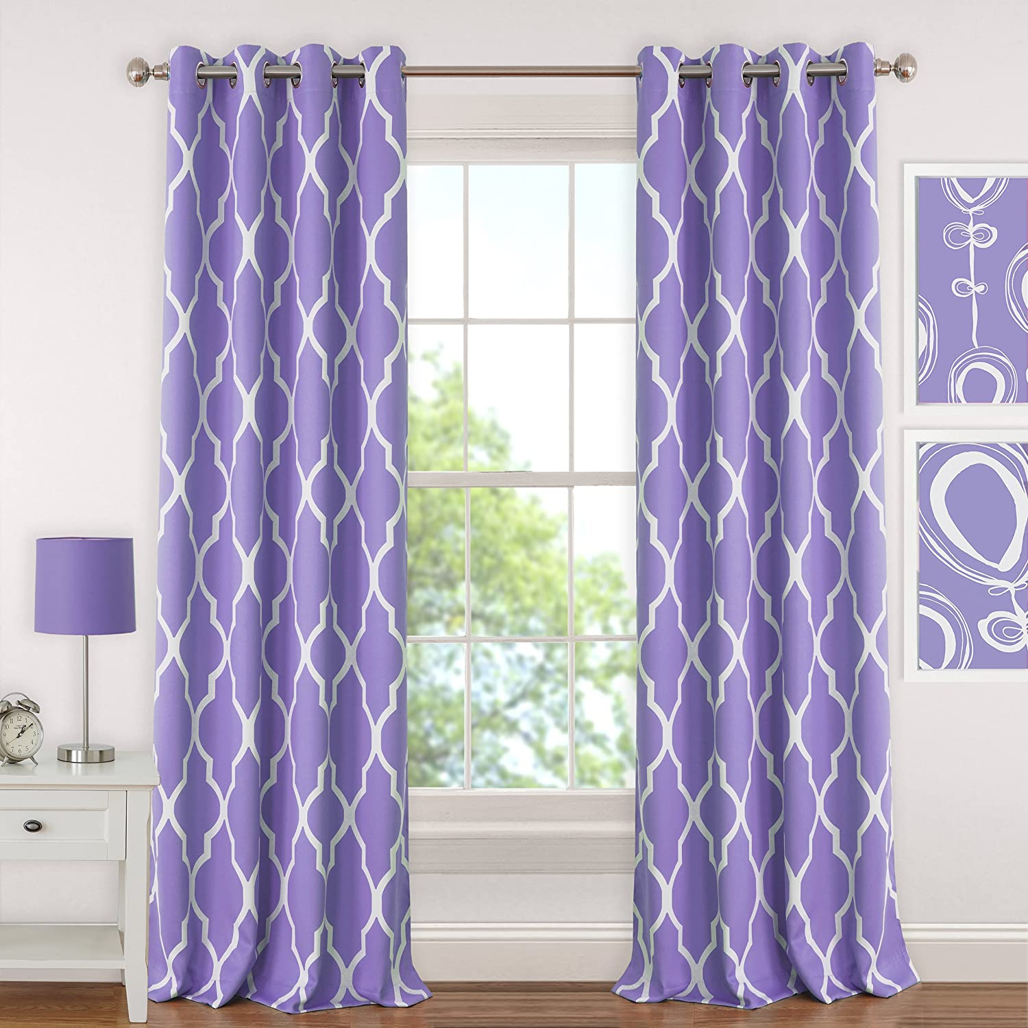 Juvenile Teen or Tween Blackout Room Darkening Grommet Window Curtain Drape Panel Purple