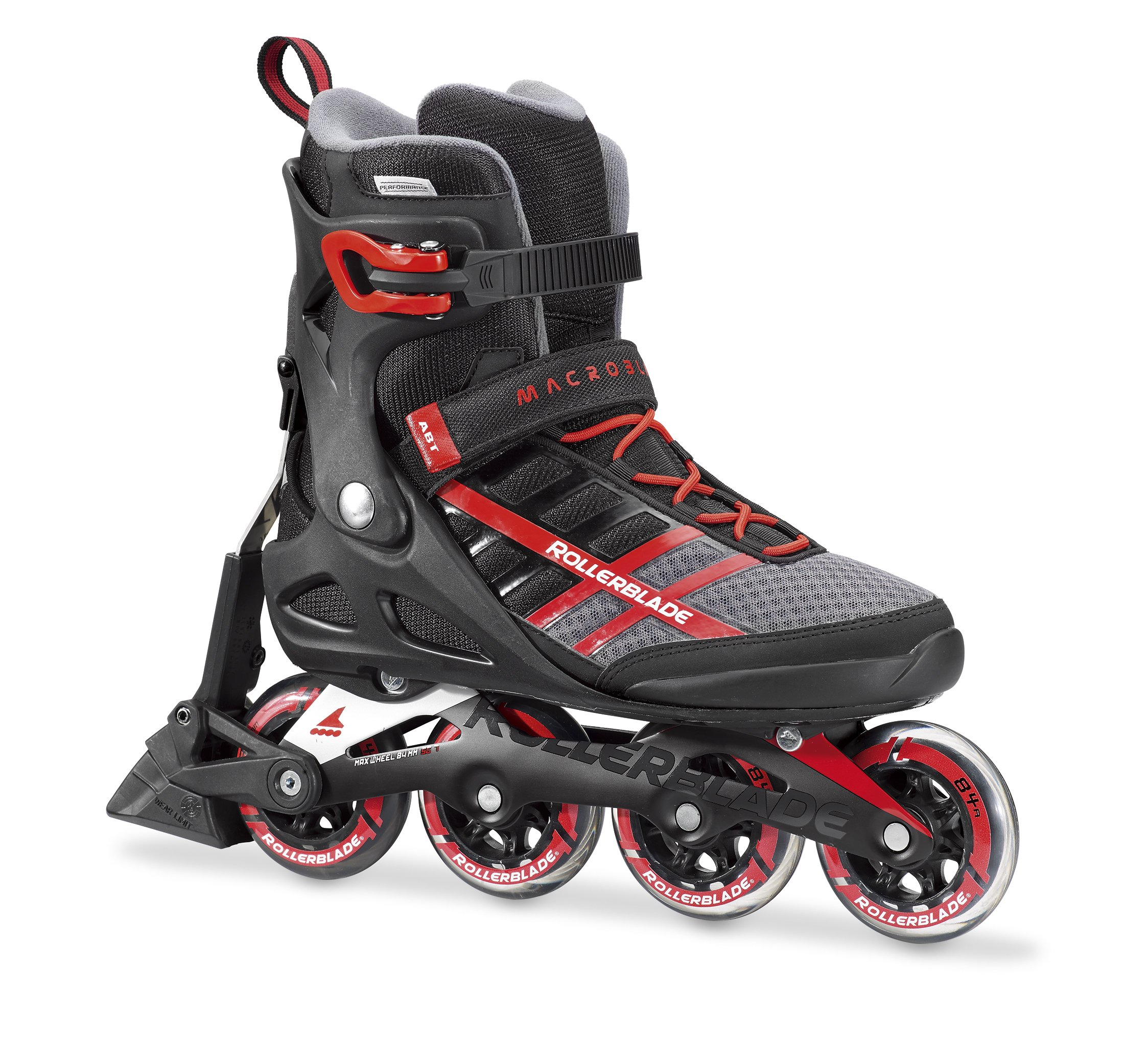 Rollerblade Macroblade 84 ABT Men's Adult Fitness Inline Skate, Black and Red, Performance Inline Skates, US size 12