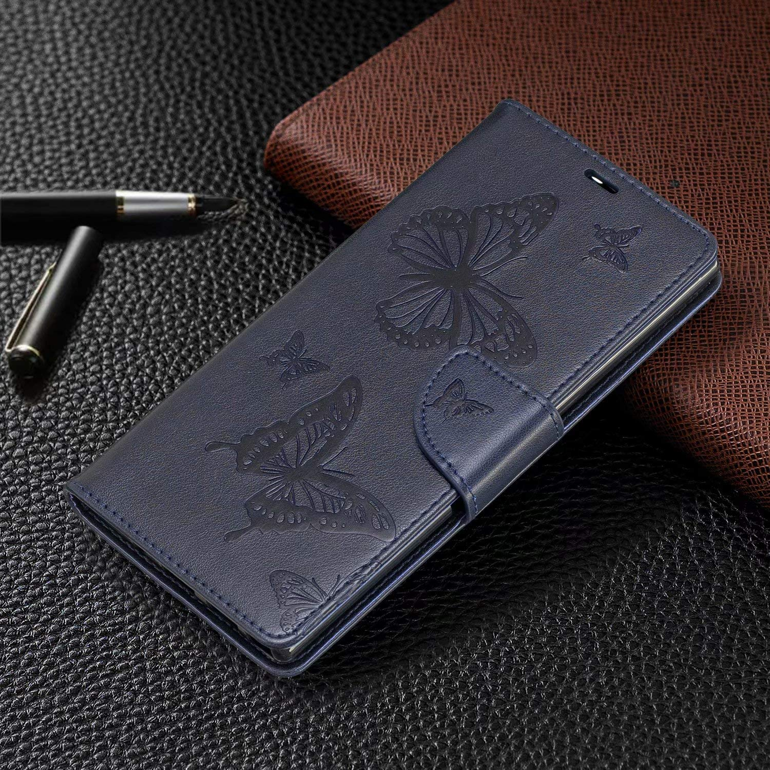 Premium PU Leather Magnetic Folio Wallet Case for Samsung Galaxy Note 10+ Plus 5G Galaxy Note 10 Plus Case Kickstand Feature Green Ranyi Butterfly Embossed Flip Wallet Credit Card Holder