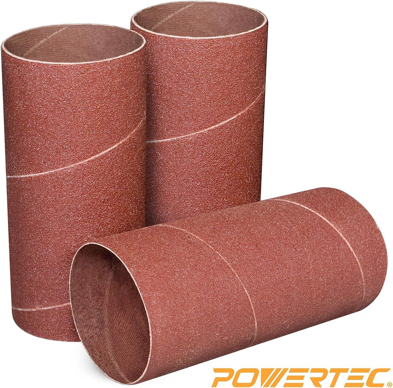 POWERTEC 11214 4.5 Inch Sanding Sleeves for Spindle Sander   120 Grit   Aluminum Oxide Sandpaper Diameter 2 Inch – 3 Pack