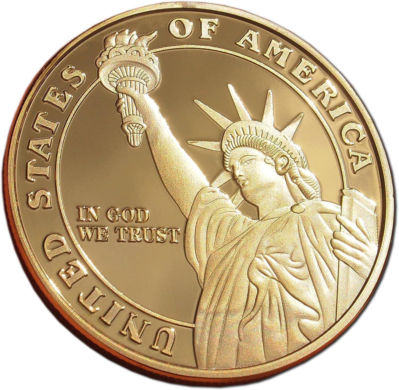 American libertad Honor chapado en oro moneda token de colección ...