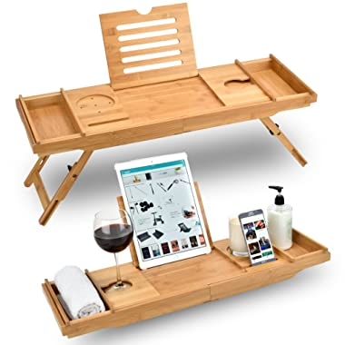 Bed Table & Bathtub Tray - Combines bamboo bath tub caddy for relaxation and bed tray for productivity into 1 - Luxurious bathtub caddy for bath accessories wine glass book iPad phone and laptop