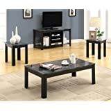 Monarch Specialties Marble-Look Top 3-Piece Table Set, Black/Grey