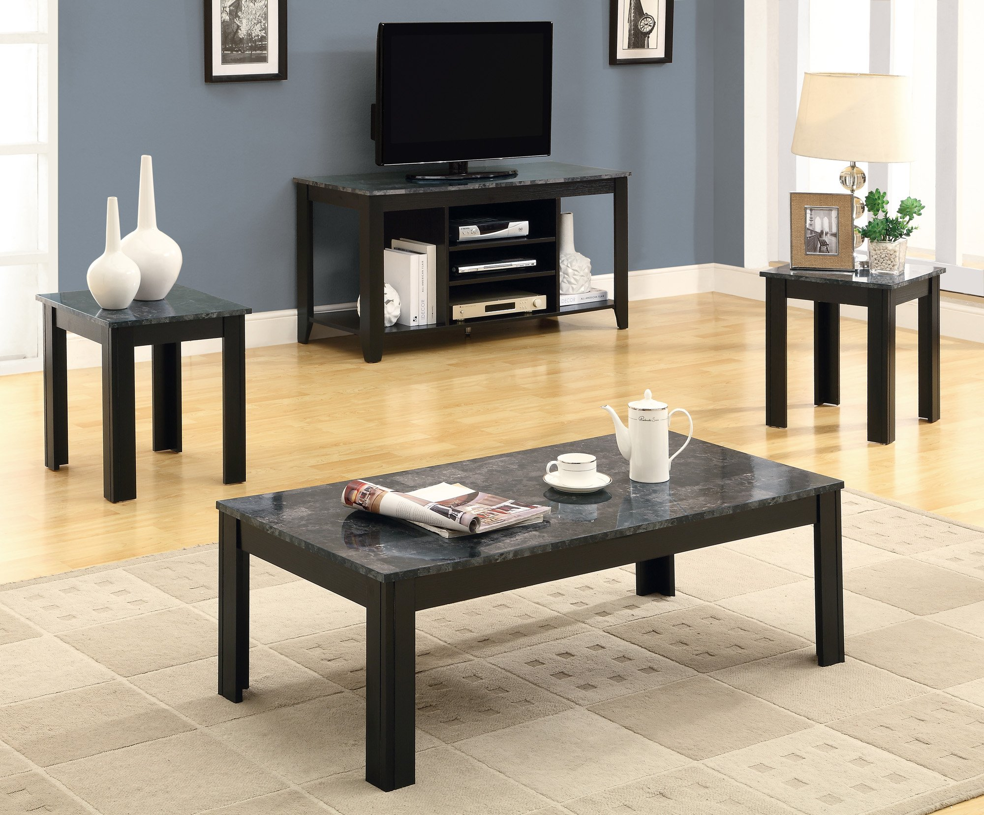 Monarch Specialties Marble-Look Top 3-Piece Table Set, Black/Grey by Monarch Specialties