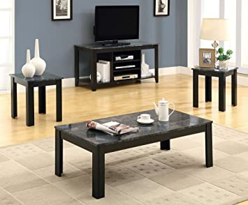 Monarch Specialties Marble-Look Top 3-Piece Table Set Black/Grey & Amazon.com: Monarch Specialties Marble-Look Top 3-Piece Table Set ...