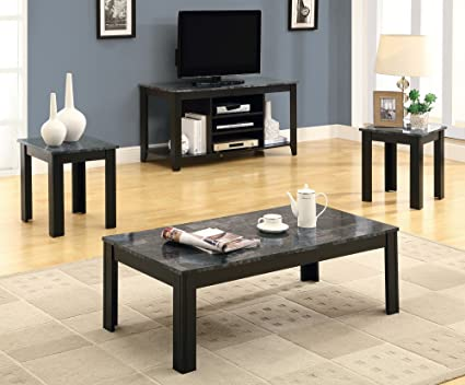 Amazon Com Monarch Specialties Marble Look Top 3 Piece Table Set