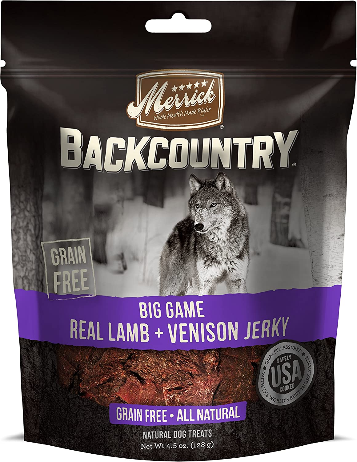 Merrick Backcountry Big Game Real Lamb + Venison Jerky Dog Treat, 4.5Oz