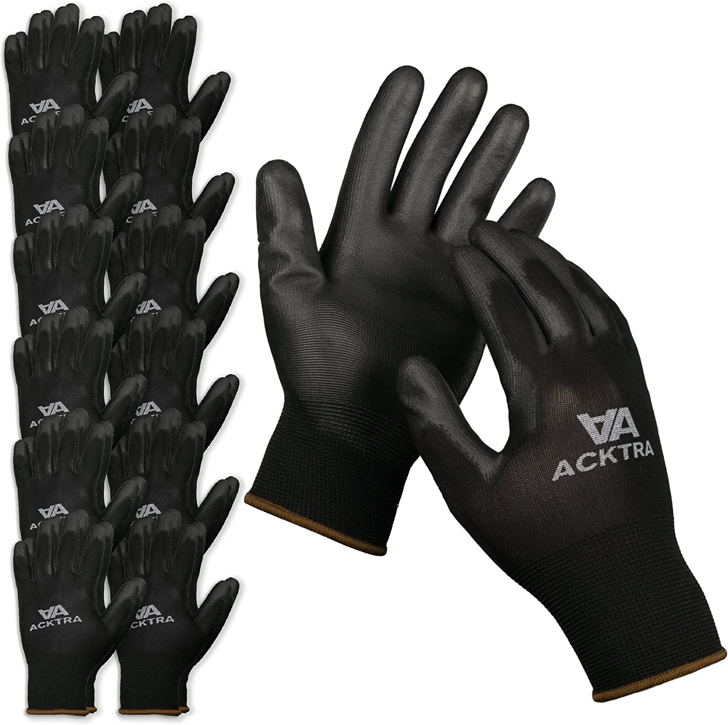 ACKTRA Ultra-Thin Polyurethane (PU) Coated Nylon Safety WORK GLOVES 12 Pairs, Knit Wrist Cuff, for Precision Work, for Men & Women, WG002 Black Polyester, Black Polyurethane, Small