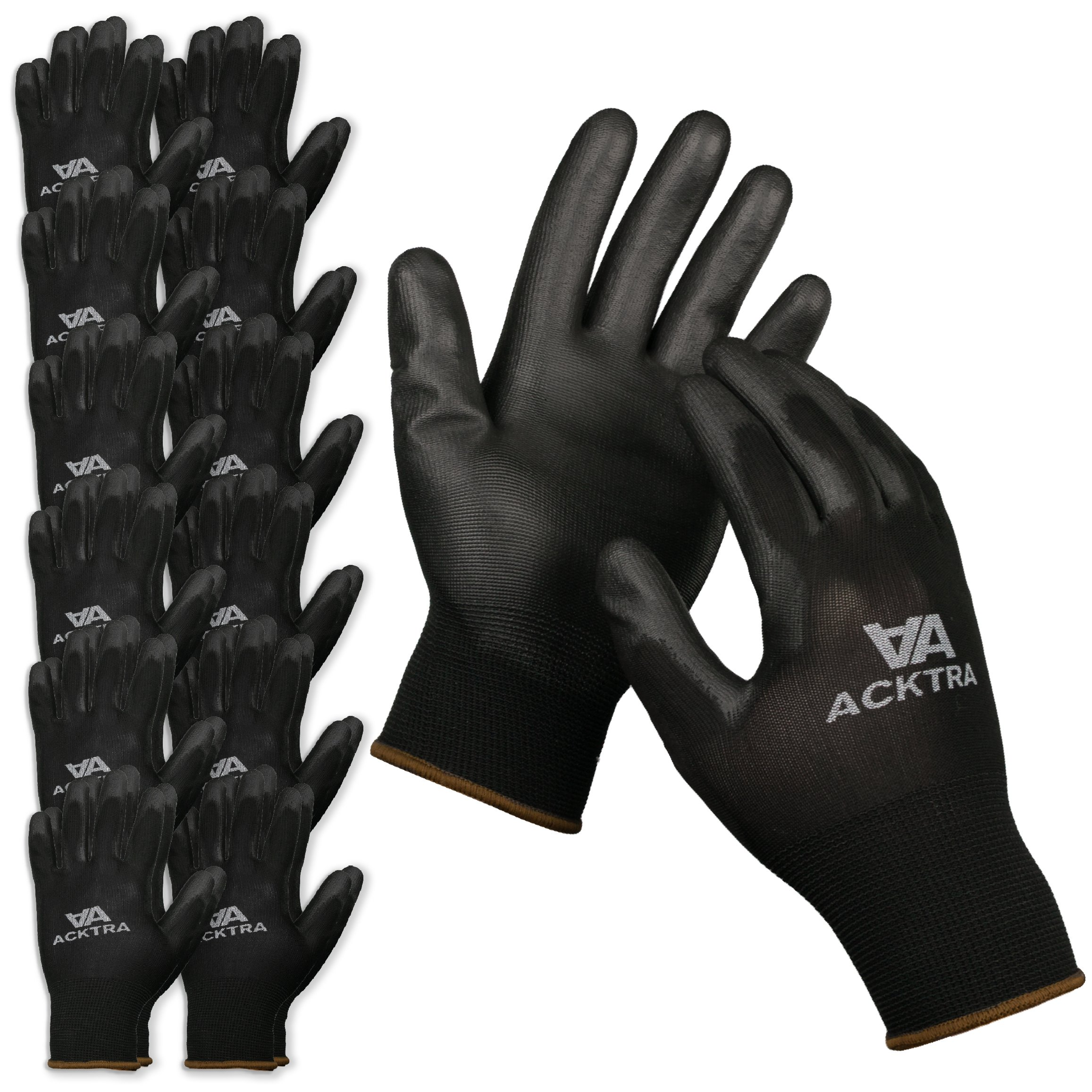 ACKTRA Ultra-Thin Polyurethane (PU) Coated Nylon WORK GLOVES 12 Pairs, Knit Wrist Cuff, for Precision Work, for Men & Women, WG002 Black Medium