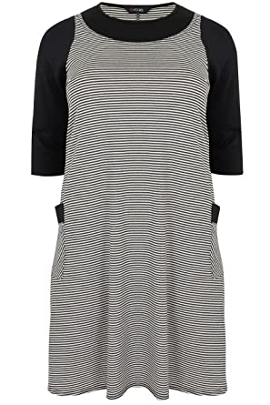 Yoursclothing Womens Plus Size Striped Textured Mock Pinafore Dress