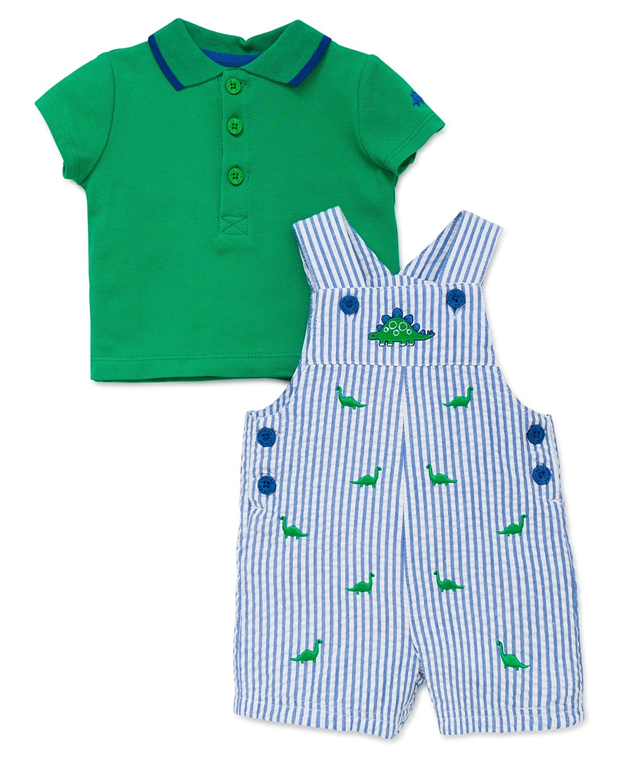 d31a9a1f2 Amazon.com: Little Me Baby Boys' 2 Piece Knit Top with Woven Shortall:  Clothing