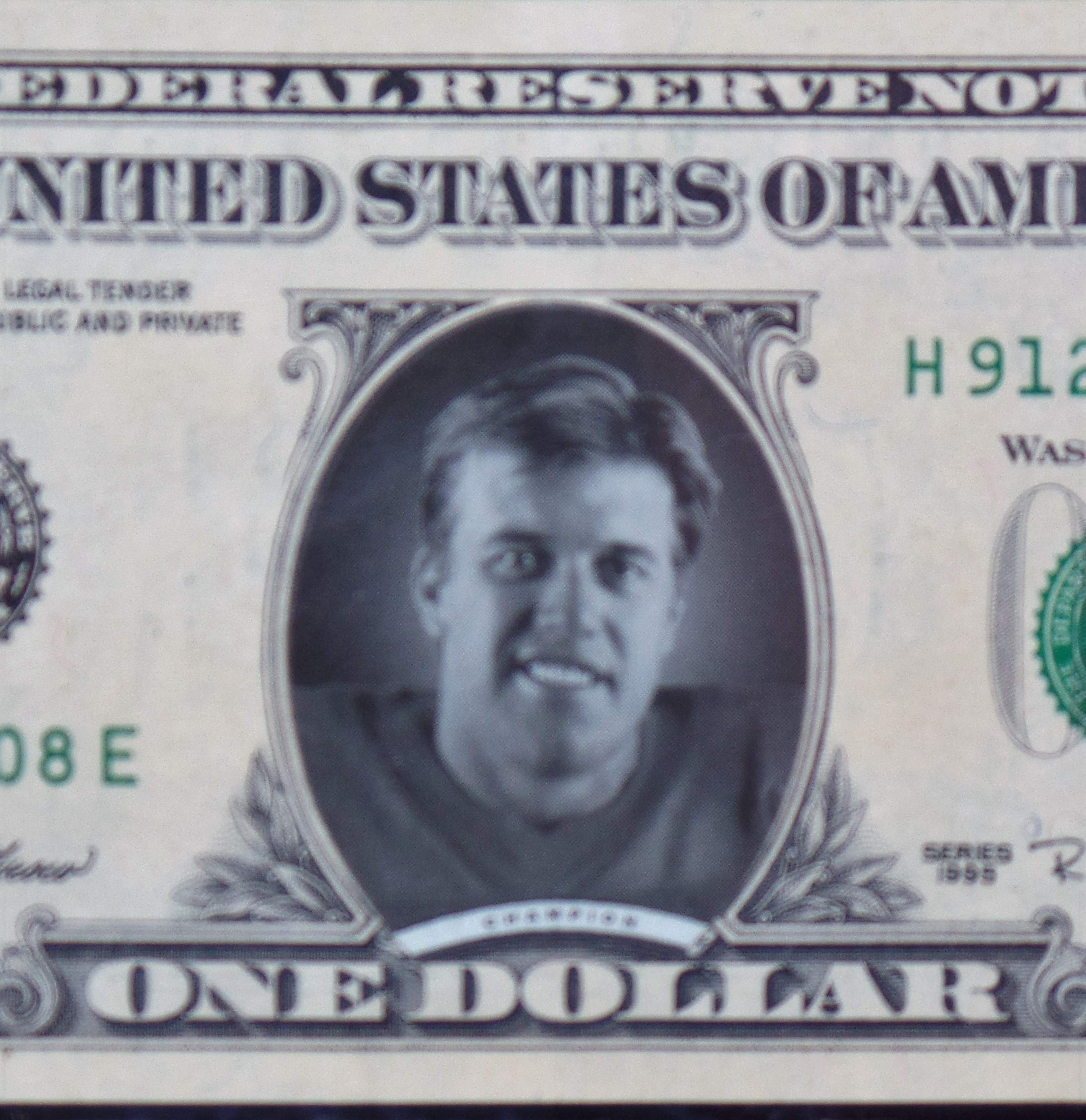 "John Elway Collectible Dollar Bill Plaque,""In John We Trust 8"" x 6"" (Great For Mancave Display) Free Shipping"