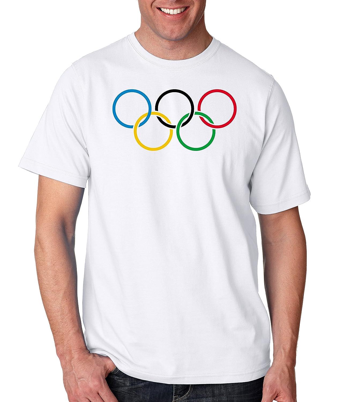 Olympic Rings Logo T Shirt Vintage Retro Style Track Swim Ski USA Sports