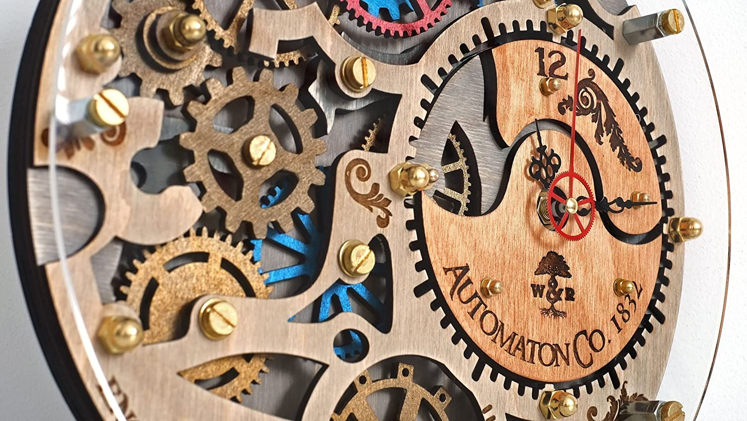Amazon automaton wall clock 1832 handcrafted by woodandroot amazon automaton wall clock 1832 handcrafted by woodandroot unique industrial wooden decorotive personalized gift steampunk one of a kind amipublicfo Images