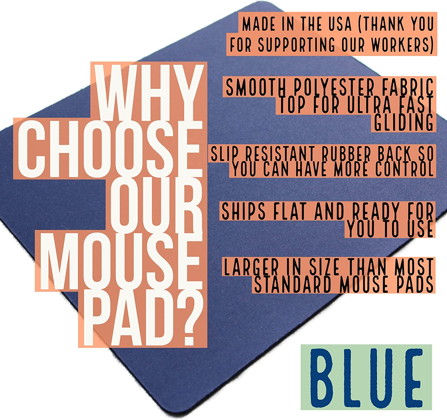 Mousepads for Laptops Mouse Pad Blue Rubber Mousepad Small Gaming Mouse pad Mouse Pads for Computer Made in The USA