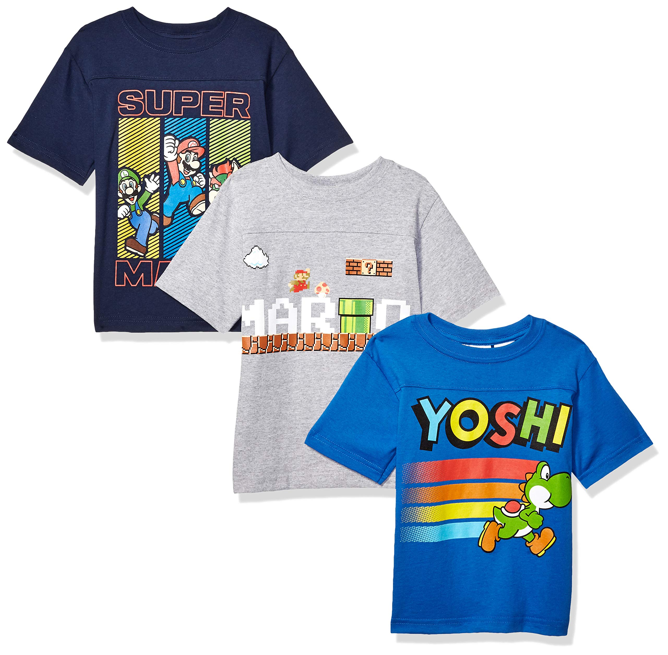 Nintendo Boys' Big Mario 3 Pack Tee's, Grey, Blue, 8