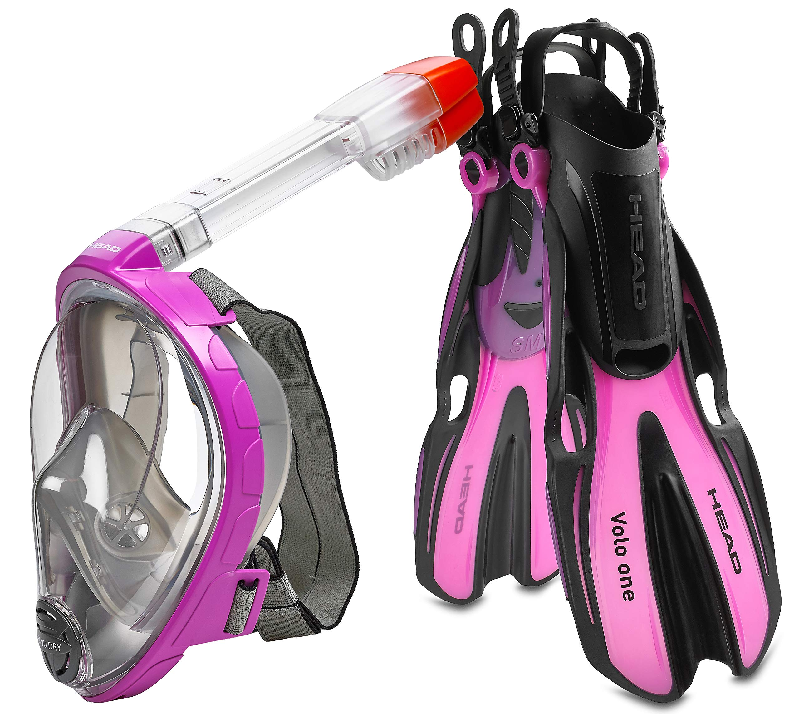 HEAD Sea View Dry Full Face Mask Fin Snorkel Set, Pink, Small/Medium (Made in Italy)