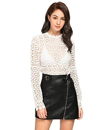 5f0a7db0ba SheIn Women's Sexy Lace See Through Blouse Long Sleeve Mock Neck Top White  X-Small