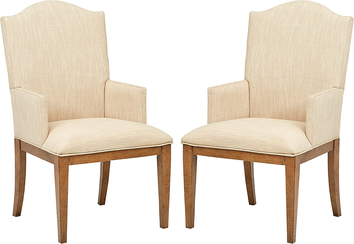 Stone & Beam Parson Farmhouse Dining Room Kitchen Chairs, 40 Inch Height,  Set of 2, Beige