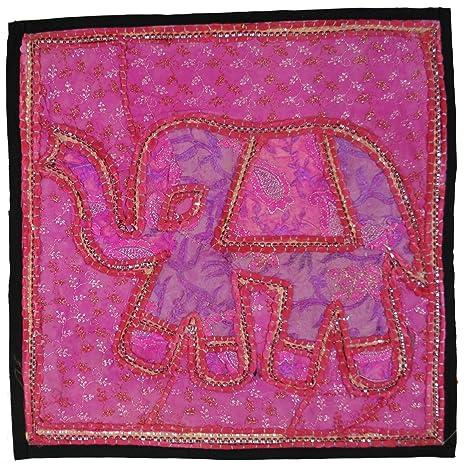 Guru-Shop Fundas de Colchón Mosaico Rajasthan, única Pieza - 19, Rosa, Algodón, 40x40 cm, Cojín del Sofá Cojín de Decoración: Amazon.es: Hogar