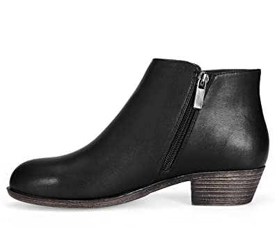 Women's Sneaker Petty Stacked Heel Side Zipper Ankle Booties