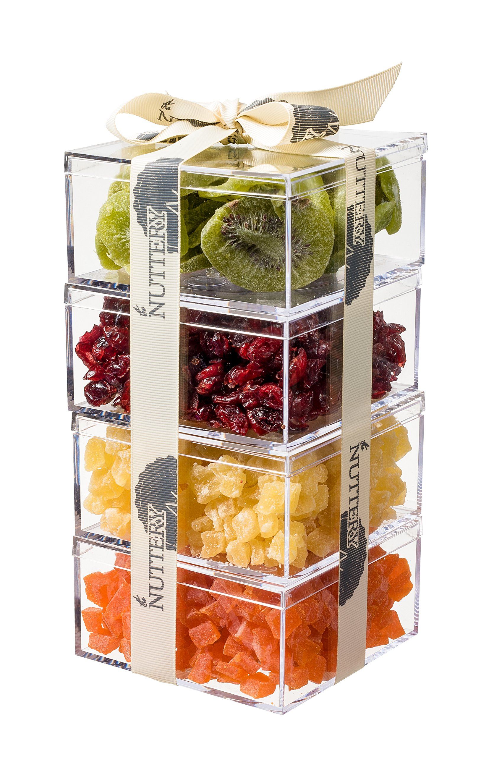 The Nuttery Premium Holiday Dried Fruit Gourmet Gift Tower ~ Kiwi ~ Cranberry ~ Pineapple ~ Papaya ~