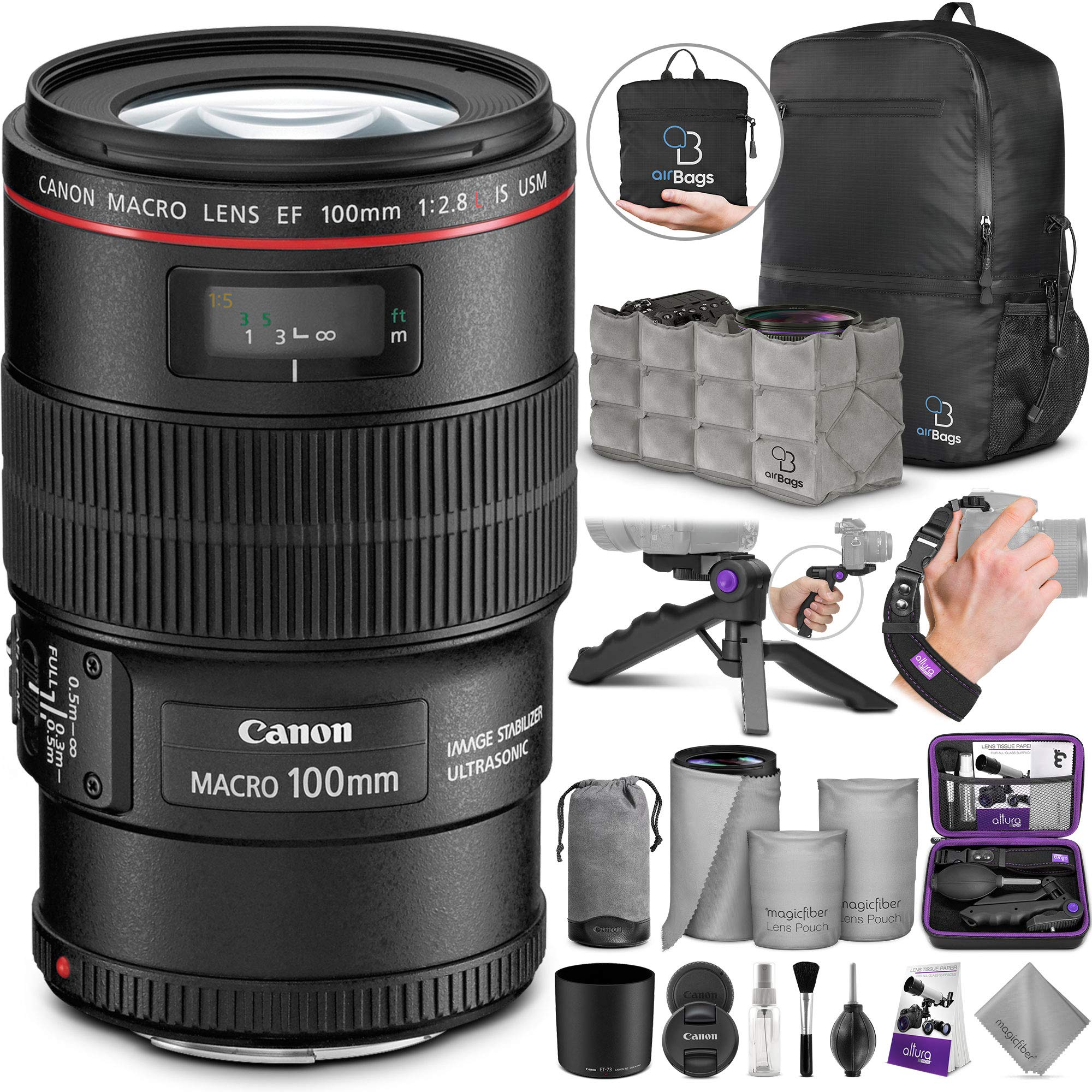 Canon EF 100mm f/2.8L is USM Macro Lens with Altura Photo Essential Accessory and Travel Bundle by Canon