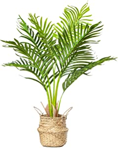 "PLANTAE Mini Artificial Areca Palm Tree 30"" Inch Tall 8 Realistic Branches Faux Plant for Home and Office Decor Indoor with Handmade Natural Seagrass Woven Basket Included"