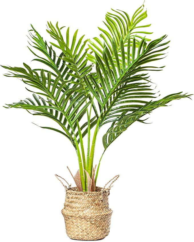Plantae Mini Artificial Areca Palm Tree 30 Inch Tall 8 Realistic Branches Faux Plant For Home And Office Decor Indoor With Handmade Natural Seagrass Woven Basket Included Amazon Ca Home Kitchen
