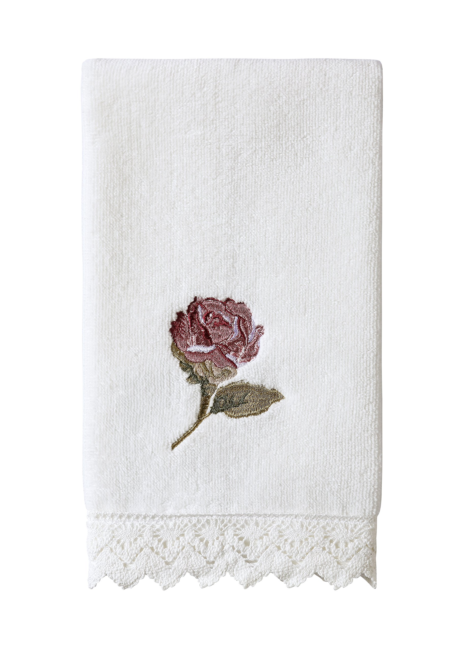 Five Queens Court Rosalind Country Chic Floral Embroidered Crochet Trim Fingertip Towel, Pink Rose