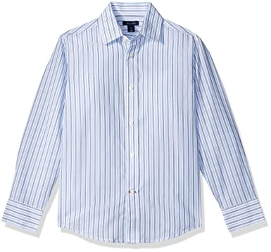 e9b250ac84b07 Amazon.com  Tommy Hilfiger Boys  Long Sleeve Striped Twill Button-Down  Dress Shirt  Clothing