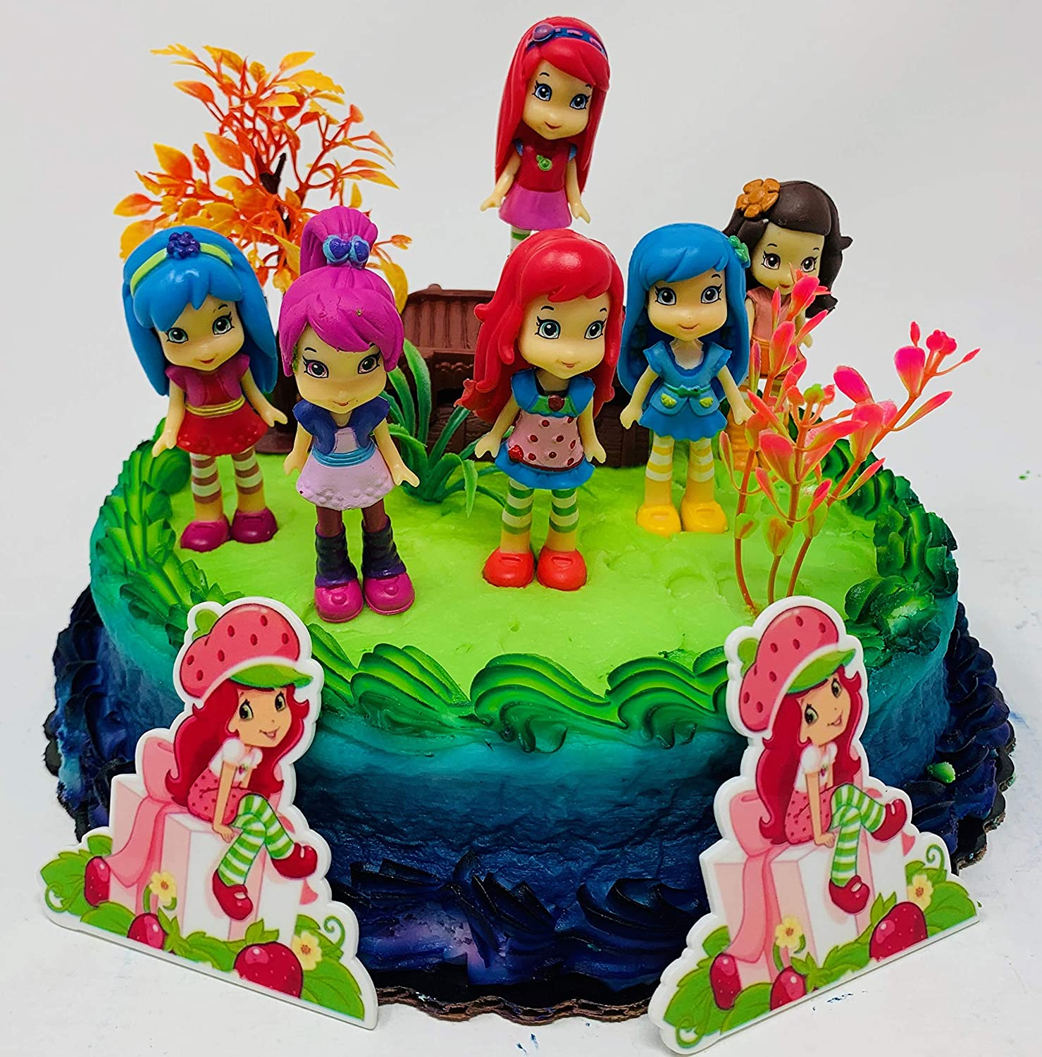 Cool Strawberry Shortcake And Friends Birthday Cake Topper Amazon Co Funny Birthday Cards Online Alyptdamsfinfo