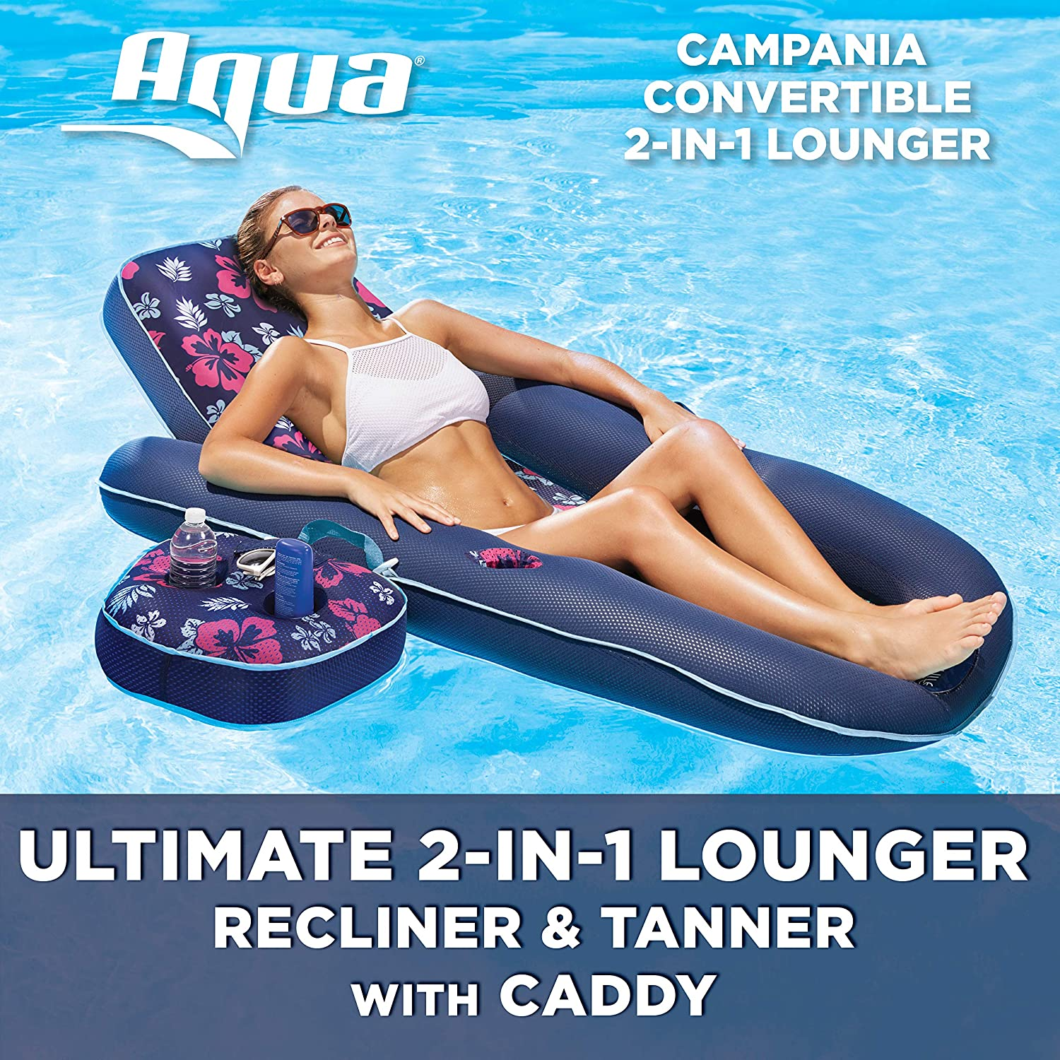 Aqua Campania Ultimate 2 in 1 Recliner & Tanner Lounge with Adjustable Backrest and Caddy, Inflatable Pool Float, Navy