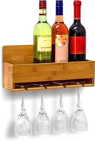 Almacene sus botellas de vino junto a sus respectivas copas,Estantería de pared con soporte para 4 c