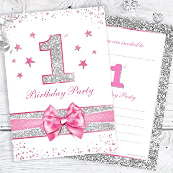 First Birthday Party Invitations - Baby Girl Pink Sparkly Design and Photo Effect Silver Glitter -