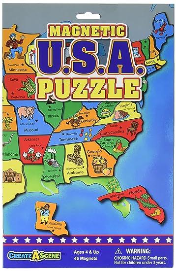 Amazoncom CreateAScene Magnetic Playset USA Puzzles Toys - Magnetic us map puzzle janod
