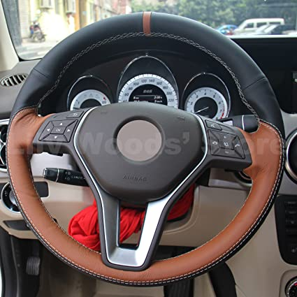 Amazon com: JI Genuine Leather Steering Wheel Cover for Mercedes