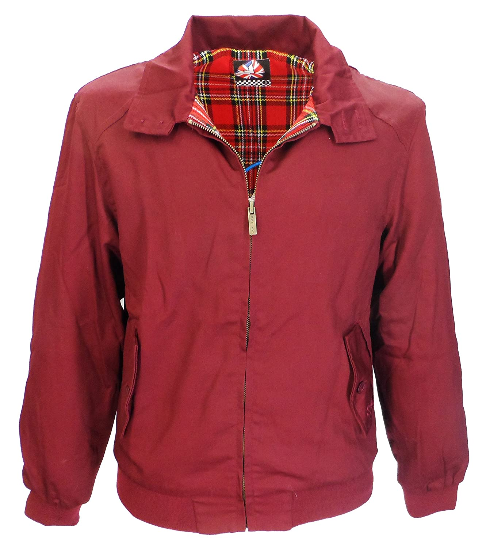 Warrior Herren Harrington Vintage Jacke Mantel Mod Tartan Karomuster Schwarz