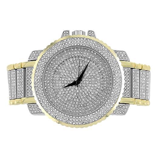 Para hombre 2 de tono reloj Fully Iced Out diamantes de imitación Joe Rodeo JoJino estilo 56 MM: Amazon.es: Relojes