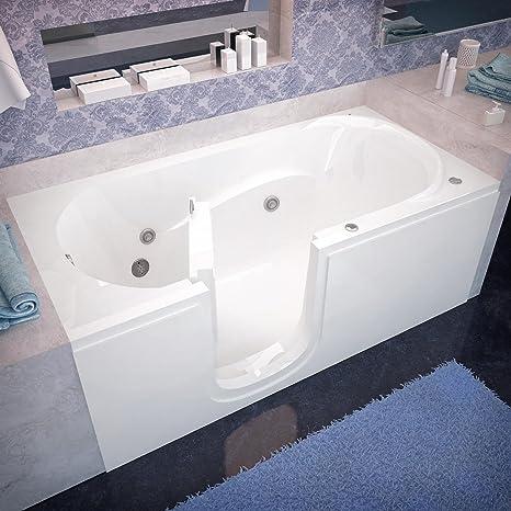 Beautiful Spa World Venzi Vz3060silwh Rectangular Whirlpool Walk In Bathtub, 30x60,  Left Drain,