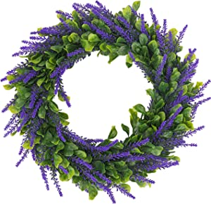 BOMAROLAN Artificial Lavender Wreath Flower 16 Inch Green Leaves Summer Fall Large DIY Wreaths Springtime for Outdoor Front Door Indoor Wall Or Window Décor (Dark Purple)